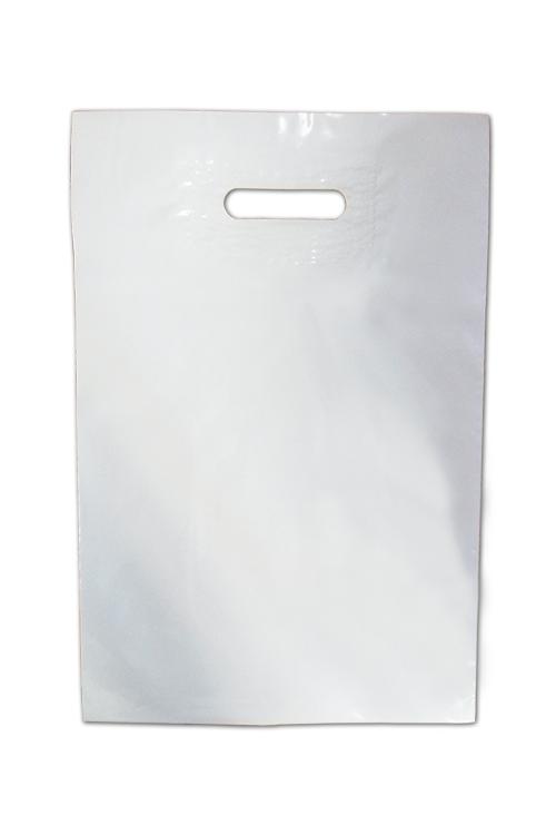 Saco de plástico com asa vazada branco