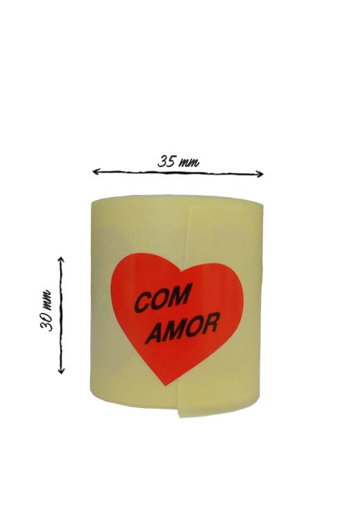 """Etiqueta em rolo """"Com Amor"""" 30x35"""