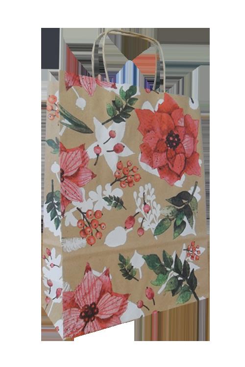 Saco de papel com asa torcida flor rosa
